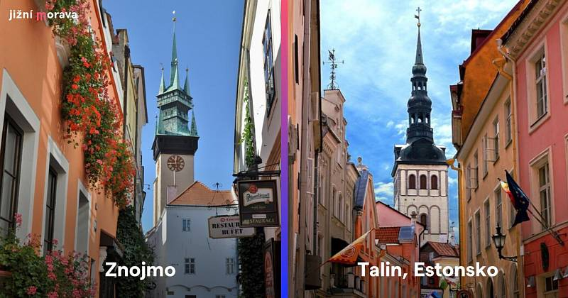 Centra Znojma a estonského Tallinu.