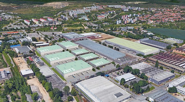 Vizualizace areálu vmístě dřívější továrny Zetor vbrněnské Líšni.