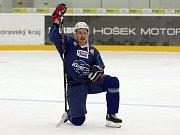 První trenink hokejové Komety Brno v DRFG aréně - na snímku Lukáš Kašpar.