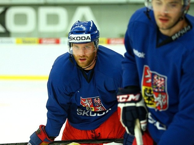 Trénink hokejové reprezentace v Brně.