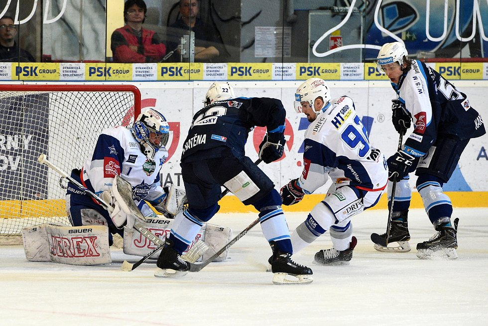 Čtvrté semifinálové utkání ELH mezi domácí Kometou Brno v bílém a Indiány z Plzně.