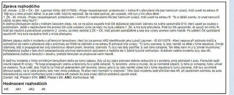 Sudí Varol Ikizgül uvedl všechny nadávky do zápisu o utkání.