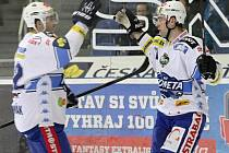 Hokejista Štěpán Novotný (vpravo).