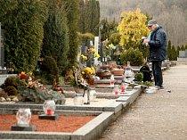 Výstavba nové části líšeňského hřbitova nedaleko stávající na konečné autobusu č. 58.