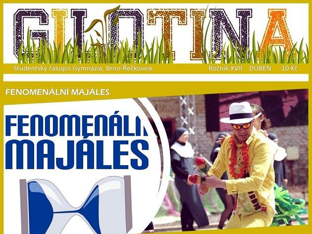 Titulní strana časopisu Jihomoravského kraje Gilotina, kterou vydávají studenti gymnázia v brněnských Řečkovicích.