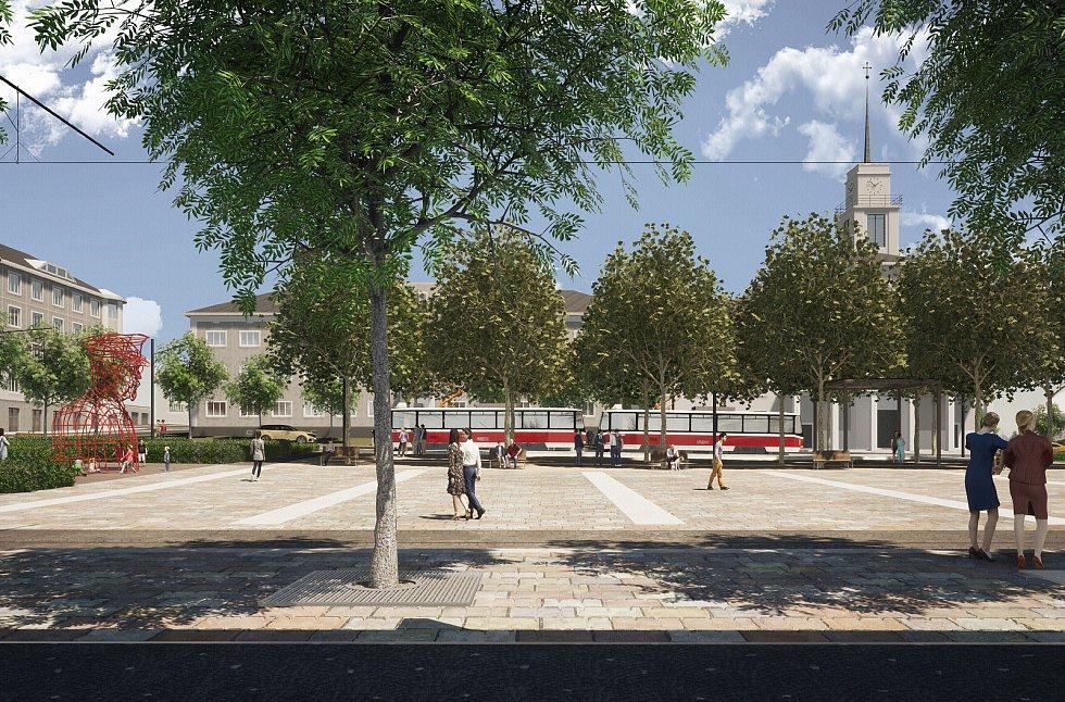 Vítězná podoba náměstí Míru v Masarykově čtvrti v Brně.