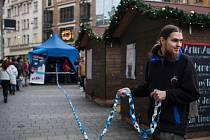 V centru Brna vytvořili lidé rekordně dlouhý řetěz z papírových pásek.