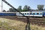 Vykolejený vlak v Tišnově.