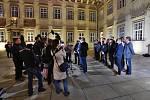 Povolební prohlášení o nové vládnoucí koalici v Jihomoravském kraji na nádvoří Magistrátu města Brna.