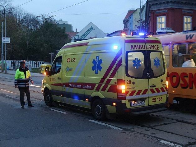 Nehoda v ulici Milady Horákové, při které srazilo auto chodce.