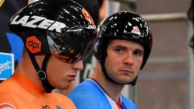Brněnský dráhař Jiří Janošek (vpravo) vybojoval v belgickém Gentu bronz v pevném kilometru.