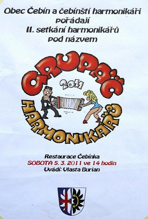 Druhý ročník Grupáče harmonikářů v Čebíně.