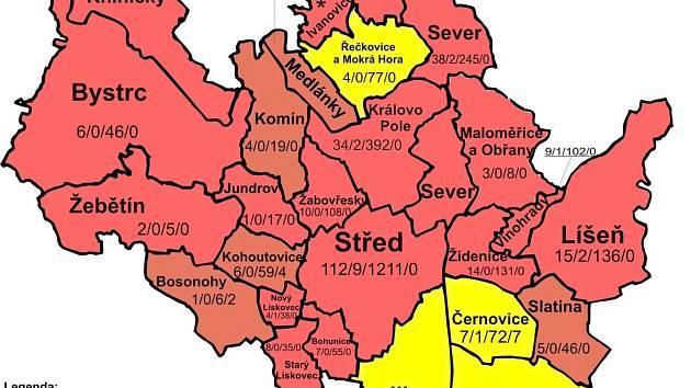 Mapa hazardu v městě Brně podle předloženého návrhu.