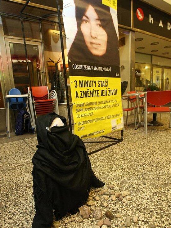 Pracovníci brněnské pobočky Amnesty International ve čtvrtek uspořádali happening v pasáži Alfa proti násilí páchanému na ženách.