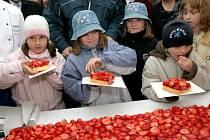 Na rekordním pětatřicet metrů dlouhém jahodovém koláči si pochutnaly nejen děti