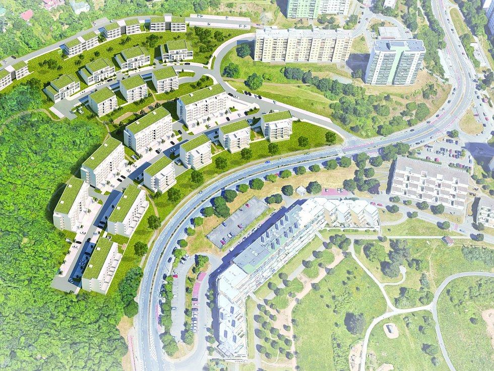 Vizualizace nového bydlení na Kamenném vrchu v Novém Lískovci.
