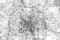 Mapa shazovaných bomb.