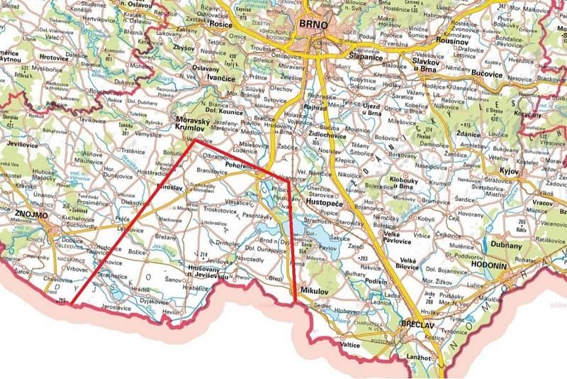 Mapky s vyznačenou oblastí česko-rakouského projektu, který se zabývá problematikou původu, kapacit a využití termálních vod v regionu Laa - Pasohlávky.