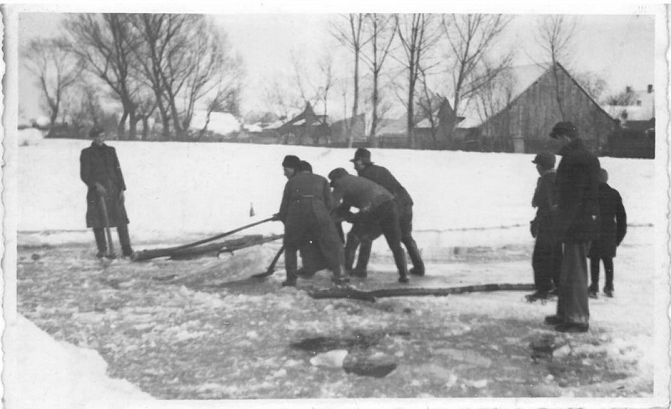 Břeclav. Těžba ledu v zimě na Dyji. Led převáželi sedláci, kteří neměli přes zimu práci, do pivovarů. Snímek z poloviny 20. století.