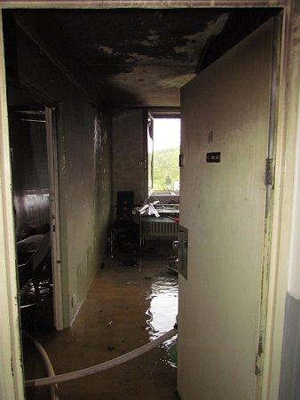 Požár bytu vGlinkově ulici vBrně