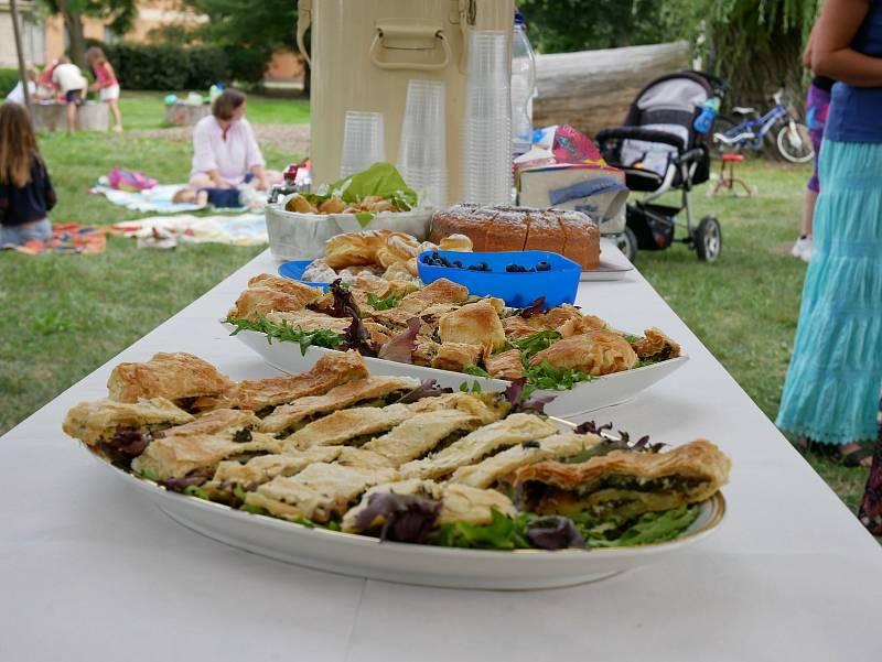 Akce Česko jde spolu na piknik vyzvala lidi z různých míst naší země, aby pořádali ve stejný čas piknik. Na snímku dobroty na loňském pikniku ve Smtžicích.