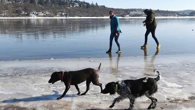 Brněnská přehrada - Na stejném místě se v sobotu pod pejskem prolomil led, naštěstí se majitelce podařilo dostat zvíře na břeh.