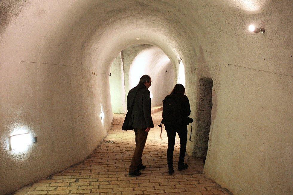 Podzemní chodby pod Zelným trhem v Brně.