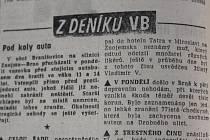 Černá kronika v Rovnosti dne 4. ledna 1978.