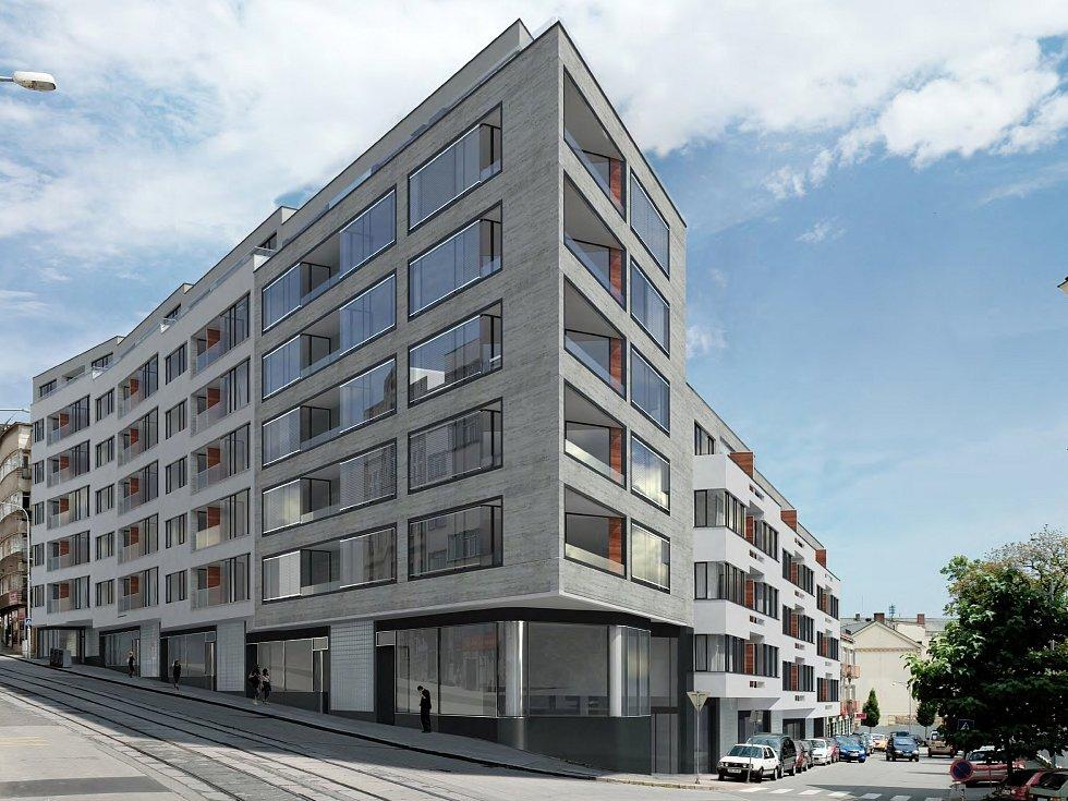 Známé místo na nároží Anenské a Pekařské ulice na vizualizacích dvou možných provedení budoucí stavby bytového domu - v tomto případě od Atelieru RAW.