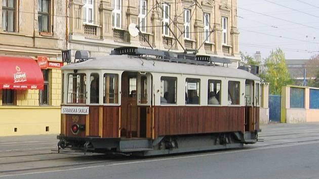 Historická tramvaj v Brně.
