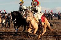 Rekonstrukce bitvy tří císařů na Slavkovském bojišti.