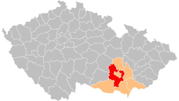 Červeně je vyznačené území okresu Brno - venkov.