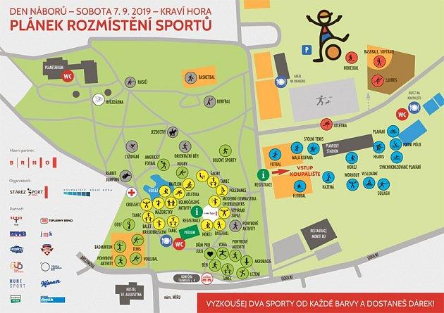 Plánek rozmístění sportů