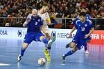 Kvalifikační turnaj na futsalové MS 2020 - ČR Michal Seidler (bílá) Kazachstán 3 Taynan a 12 Dauren Tursagulov (modrá)