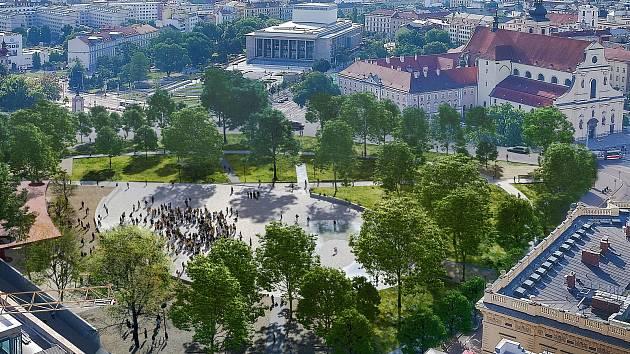 Letní nadhledová perspektiva nové podoby Moravského náměstí v Brně.