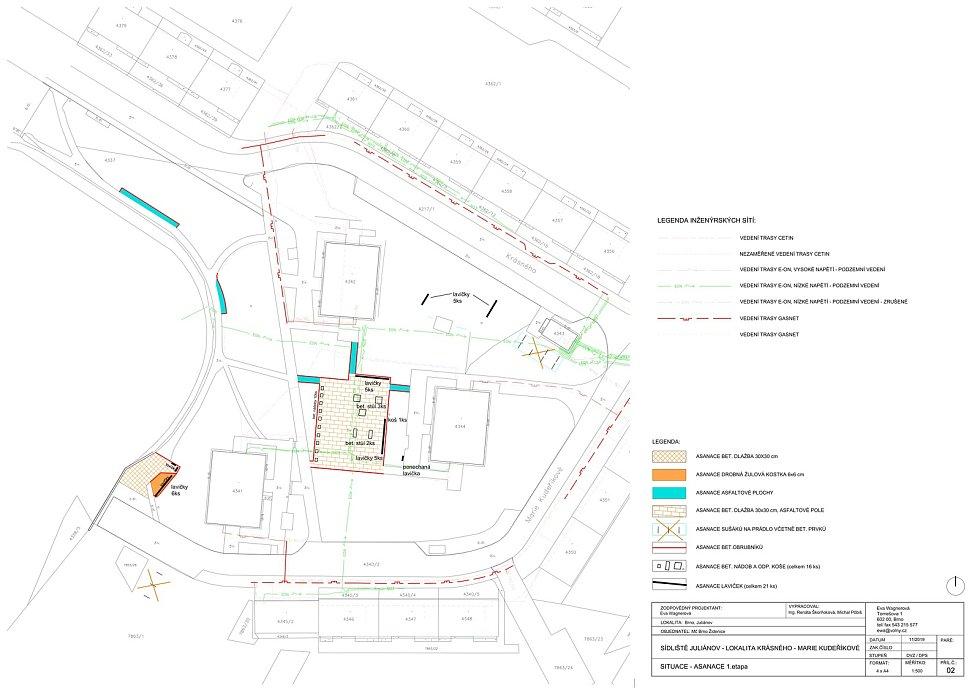 Vizualizace projektu revitalizace prostoru mezi panelovými domy na ulicích Krásného a Marie Kudeříkové v brněnských Židenicích.
