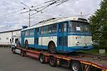Trolejbus Škoda 9Tr. Brněnský dopravní podnik ho získal zpět z Ukrajiny.