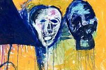 Expresivní malby Vladimíra Skrepla jsou typické barevností, sociálnost v zobrazených námětech vytváří napětí.