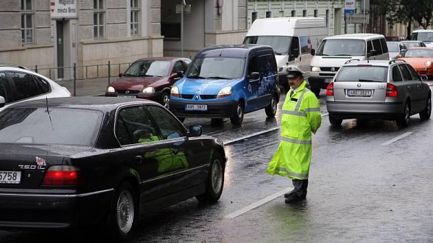 Dopravní komplikace v brněnských ulicích.