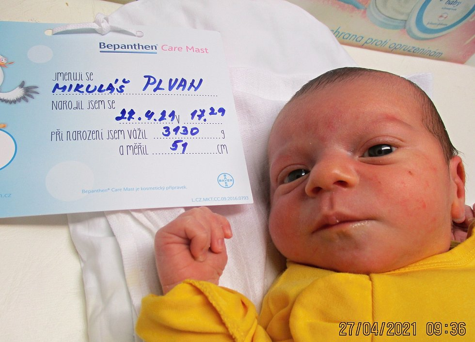 Mikuláš Plvan, 27. 4. 2021, Drnholec, Nemocnice Břeclav, 3130 g, 51 cm