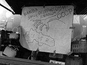Množství hesel vyjadřující protisovětskou náladu zdobily výlohy obchodů na dnešním Masarykově, tehdejším náměstí 1. máje ve Vyškově po 21 srpnu 1968.