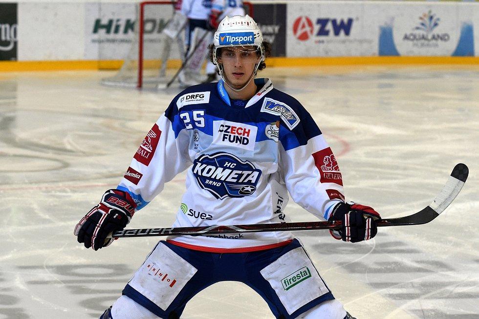 HC Kometa Brno v bílém (Karel Plášek) proti HC Vítkovice.