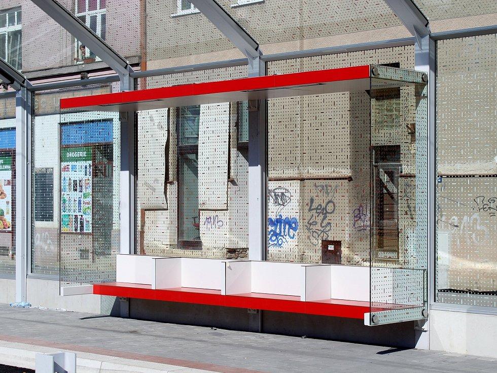 Stav stavby tramvajové trati v brněnské Plotní ulici koncem března 2021.