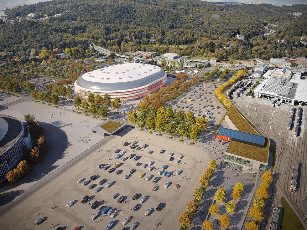 Nová multifunkční Arena Brno z pohledu od tramvajové zastávky Lipová k Pisáreckému tunelu.