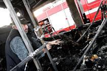 Shořelý autobus v brněnských Horních Heršpicích