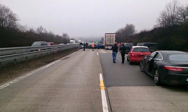 Hromadná nehoda na dálnici D1 uPodolí na Brněnsku.