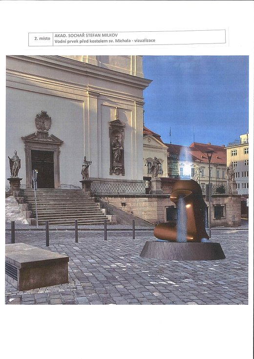 Druhý nejlepší návrh architektonické soutěže na vodní prvky na Dominikánském náměstí. Vizualizace vodního prvku před kostelem svatého Michala.