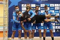 Dráhoví cyklisté brněnské Dukly slaví evropské stříbro v týmovém sprintu.