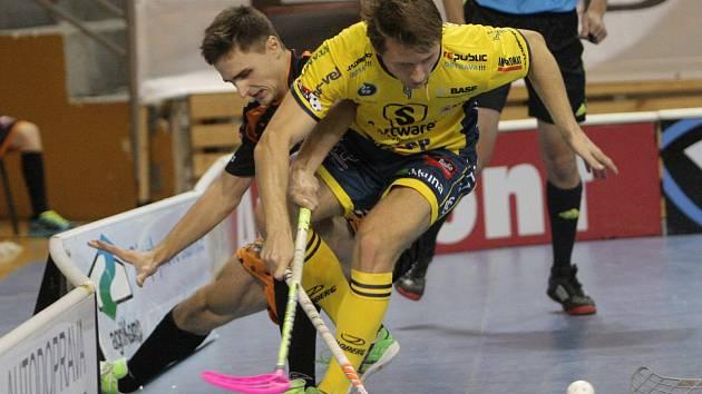 Extraligové utkání brněnských florbalistů týmu Bulldogs s Ostravou.