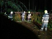 Jihomoravští hasiči se celou noc nezastavili. Bouřky a vítr v noci na pátek porážely stromy, desítky tisíc lidí byly bez elektřiny.